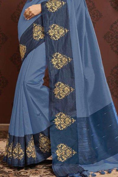 Light Royal Blue Zari Weaved Banarasi Cotton Saree
