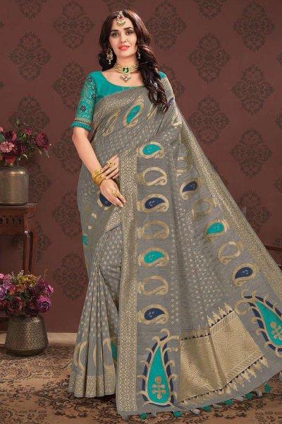 Grey Zari Weaved Banarasi Cotton Saree
