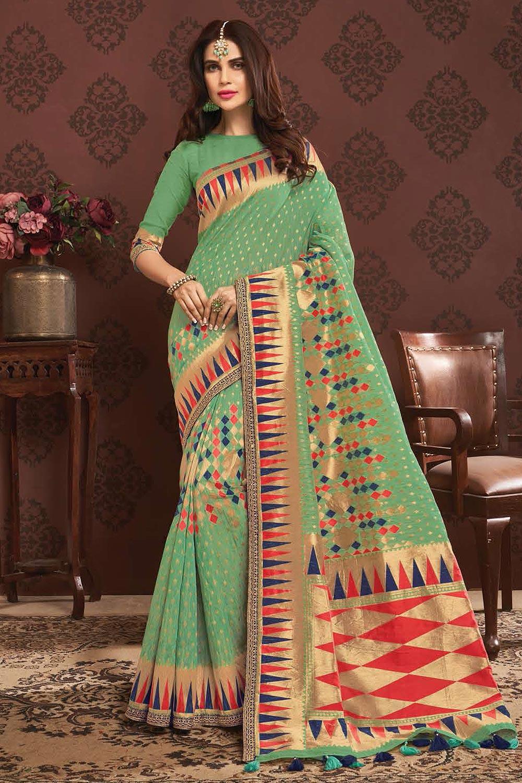 Mint Green Zari Weaved Banarasi Cotton Saree
