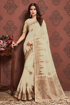 Ivory Zari Weaved Banarasi Cotton Saree