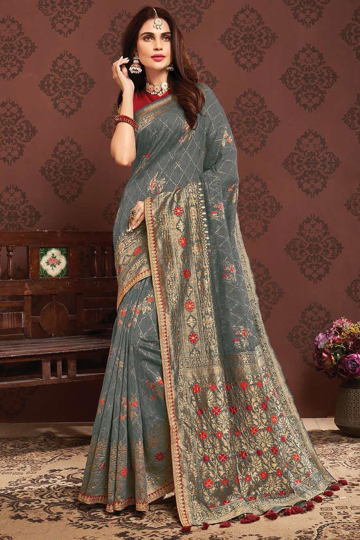 Blue-Grey Zari Weaved Banarasi Cotton Saree