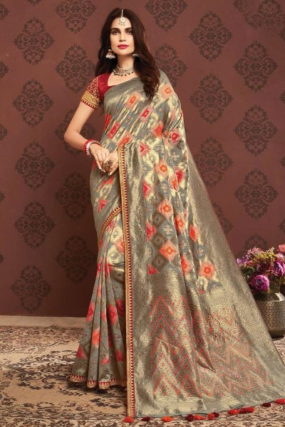 Taupe Zari Weaved Banarasi Cotton Saree