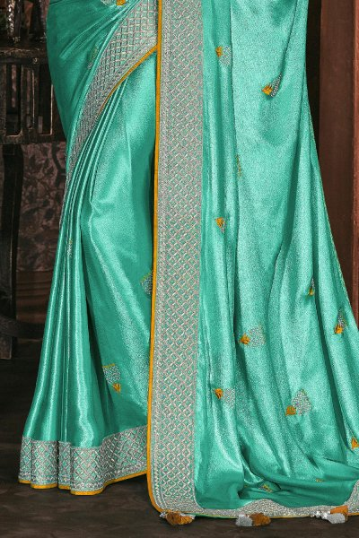 Shiny Turquoise Blue Silk Embroidered Saree With Mustard Yellow Blouse