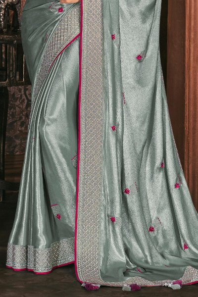 Shiny Silver Grey Silk Embroidered Saree With Magenta Blouse