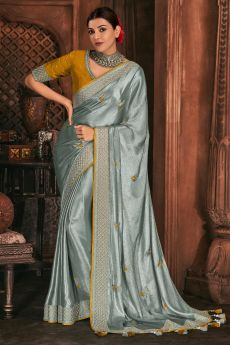 Shiny Silver Grey Silk Embroidered Saree With Mustard Yellow Blouse