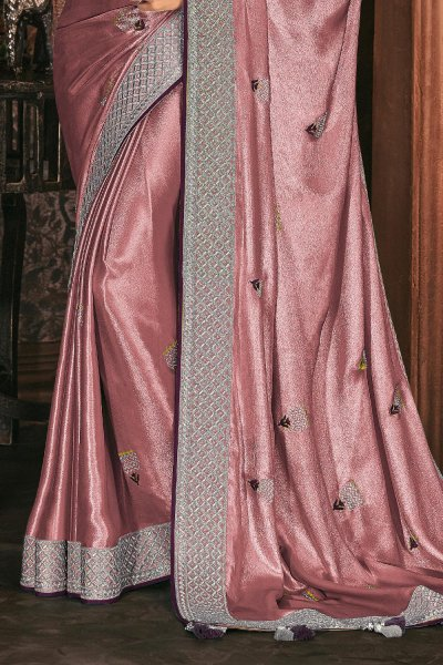 Shiny Dusky Pink Silk Embroidered Saree With Wine Blouse
