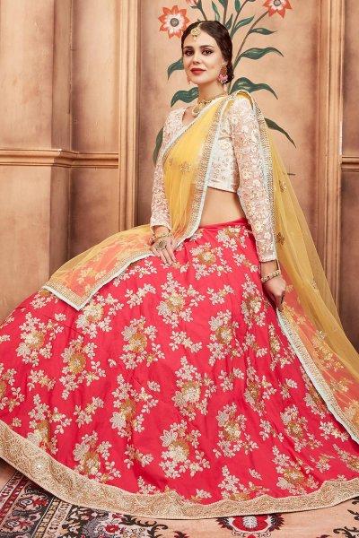 Zari Embroidered Red Silk Lehenga with Net Blouse
