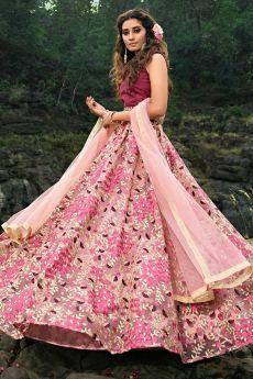 Dusky Pink Floral Zari Embroidered Lehenga Choli