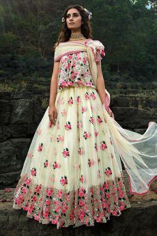 Ivory Sequin Embellished Floral Lehnaga Choli