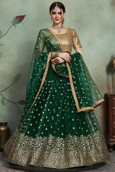 Green Sequin Embellished Net Lehenga Choli