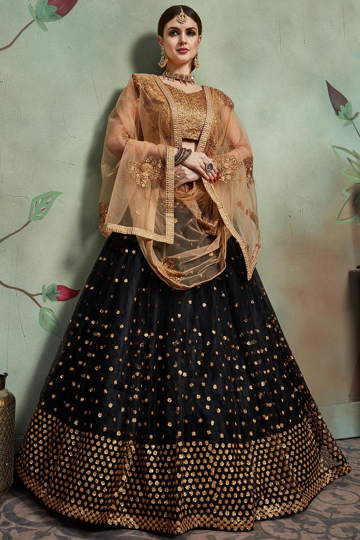 Black Sequin Embellished Net Lehenga Choli