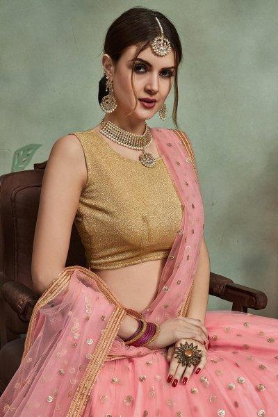 Pink Sequin Embellished Net Lehenga Choli