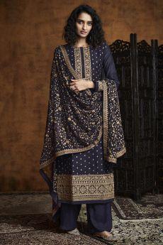 Navy Blue Zari Embroidered Salwar Suit in Georgette