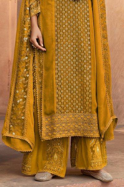 Mustard Yellow Georgette Kurta Palazzo Set