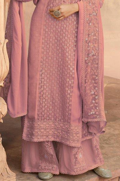 Daisy Pink Georgette Kurta Palazzo Set
