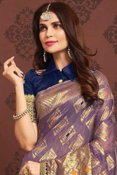 Dusky Purple Zari Weaved Banarasi Cotton Saree