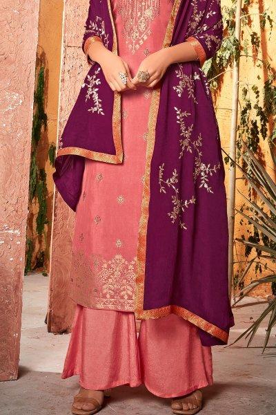 Coral Pink Silk Jacquard Kurta Palazzo Set With Plum Dupatta