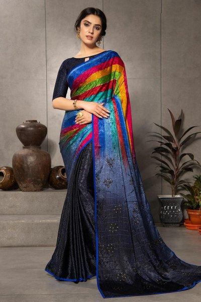 Multi Colour, Blue-Grey Silk Jacquard Printed Saree