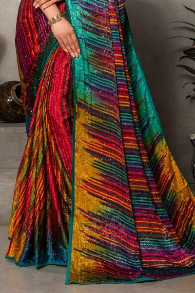 Multi Colour Silk Jacquard Printed Saree With Turquoise Blue Blouse