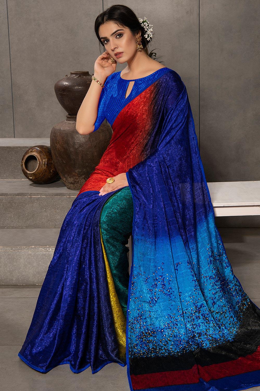 Royal Blue Silk Jacquard Multi Colour Printed Saree