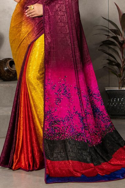 Multi Colour Silk Jacquard  Printed Saree