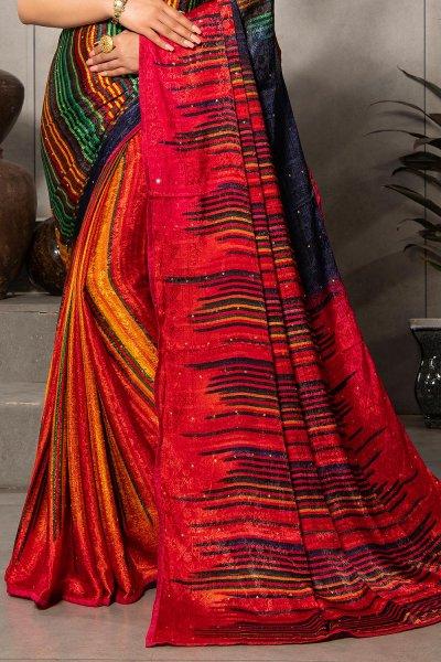Red Silk Jacquard Multi Colour Printed Saree