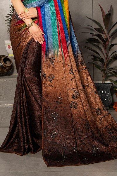 Brown Silk Jacquard Multi Colour Printed Saree