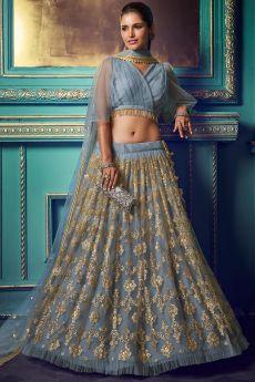 Steel Blue Party Wear Net Lehenga with Beautiful Sequin Work
