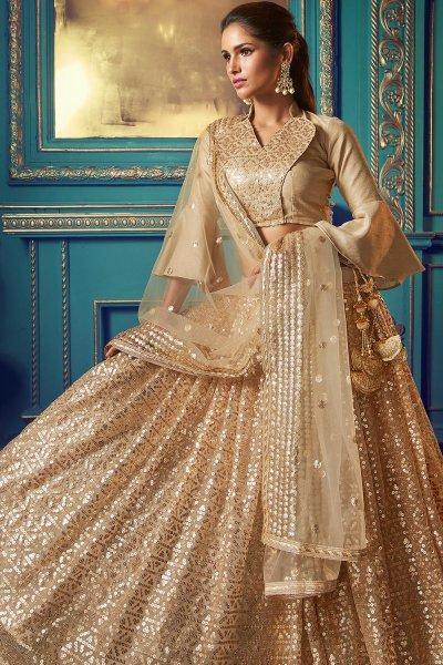 Beige Party Wear Net Lehenga with Beautiful Sequin Work