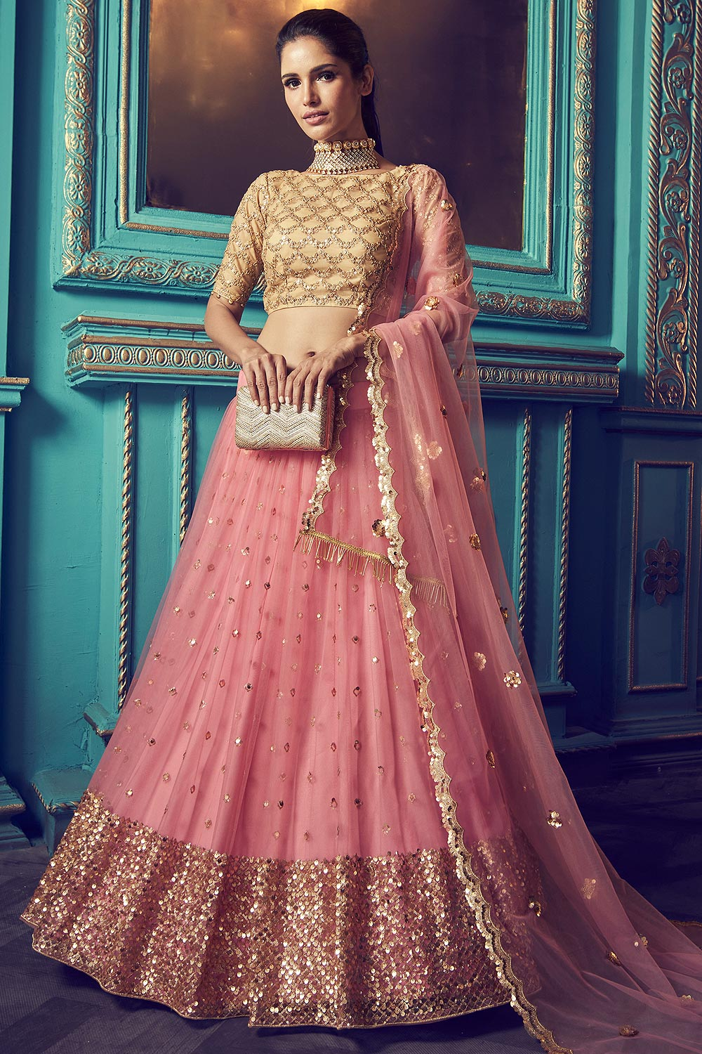 Blush Pink Party Wear Net Lehenga with Beautiful Sequin Work And Yellow Blouse