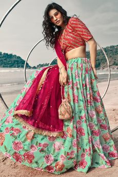 Turquoise Blue Organza Silk Lehenga with Floral print