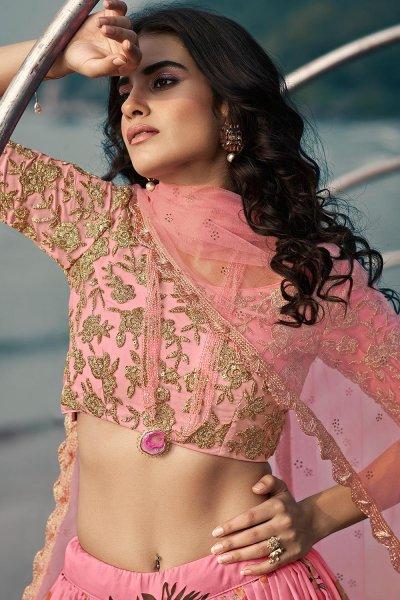 Daisy Pink Soft Organza Silk Lehenga with Floral print