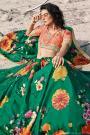 Emerald Green Soft Organza Silk Lehenga with Floral print