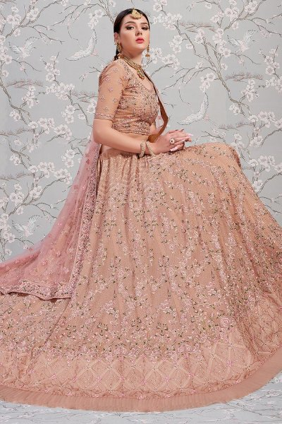 Rose Taupe Georgette Embroidered Lehenga Choli
