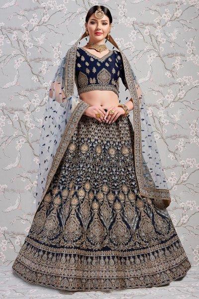 Zari Embroidered Blue Satin Silk Lehenga Choli