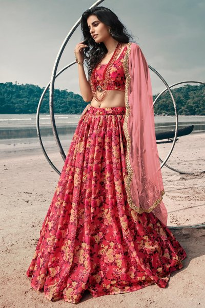 Red Soft Organza Silk Lehenga with Floral print