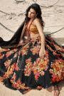Black Soft Organza Silk Lehenga with Floral print