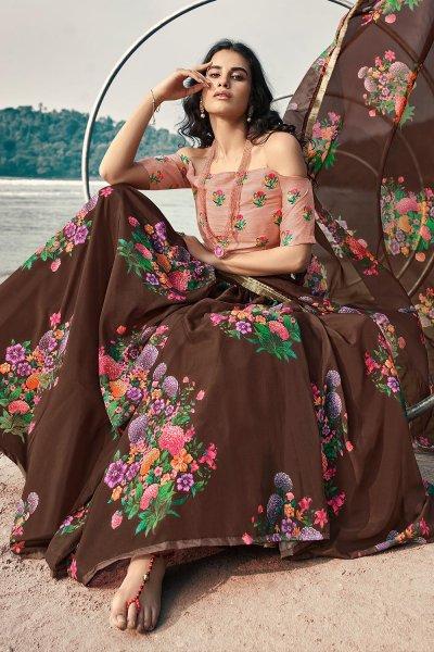 Brown Soft Organza Silk Lehenga with Floral print