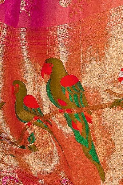 Orange And Pink Dual Tone Banarasi Silk  Saree