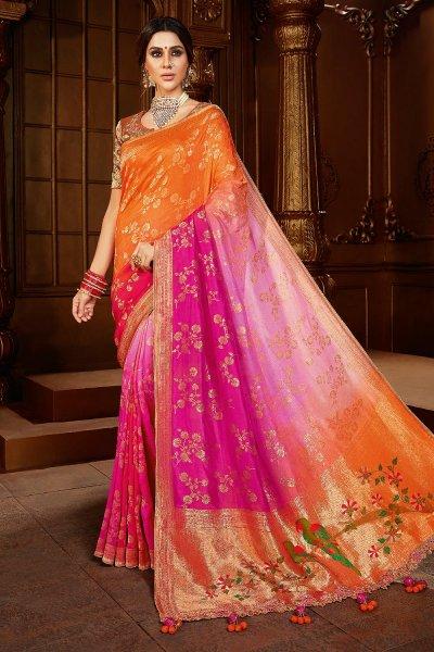 Orange And Pink Dual Tone Silk  Saree