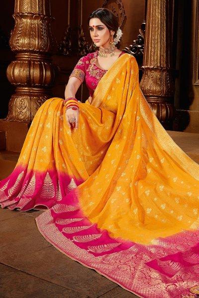 Yellow And Pink Dual Tone Banarasi Silk  Saree