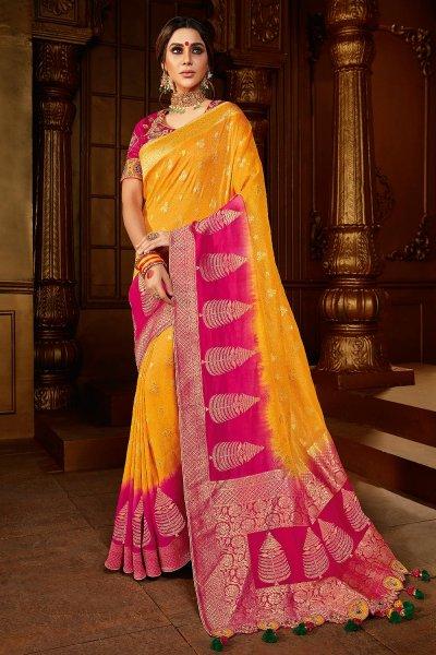 Yellow And Pink Dual Tone Silk  Saree