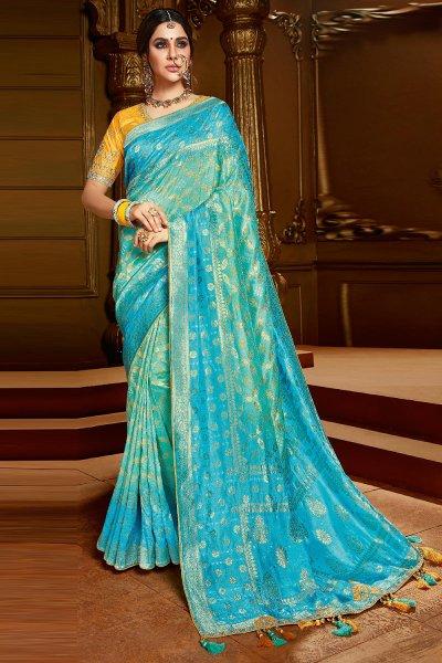 Blue Zari Weaved Silk  Saree With Yellow Blouse