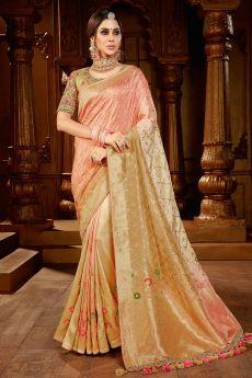 Tan And Peach Dual Tone Banarasi Silk  Saree
