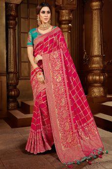 Pink Zari Weaved Banarasi Silk Saree With Blue Blouse
