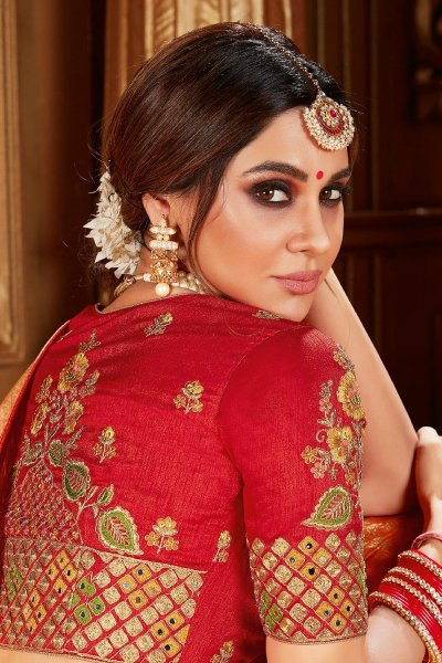 Yellow Zari Weaved Banarasi Silk  Saree With Red Blouse