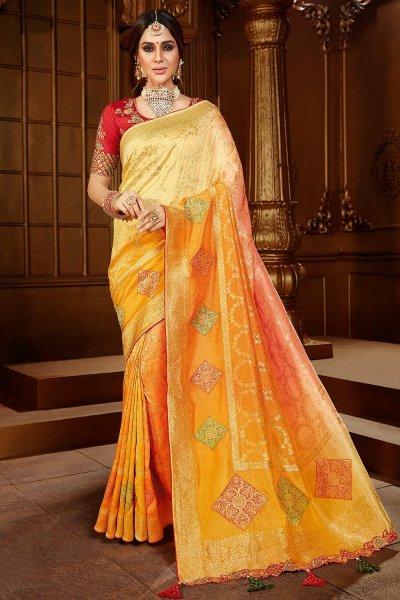 Yellow Zari Weaved Silk  Saree With Red Blouse