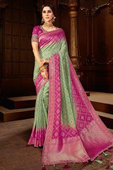 Mint Green And Magenta Dual Tone Banarasi Silk  Saree