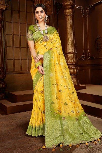 Light Yellow And Mehendi Green Dual Tone Silk  Saree
