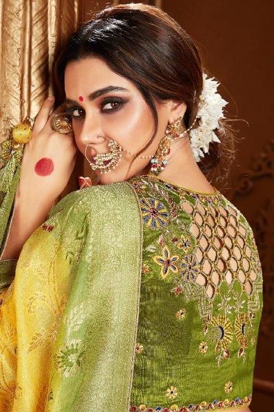 Light Yellow And Mehendi Green Dual Tone Banarasi Silk  Saree